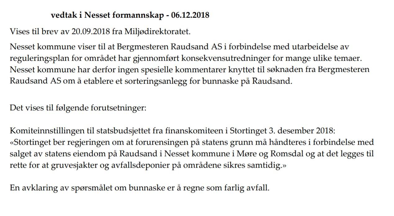 Vedtak i Nesset formannskap 06122018