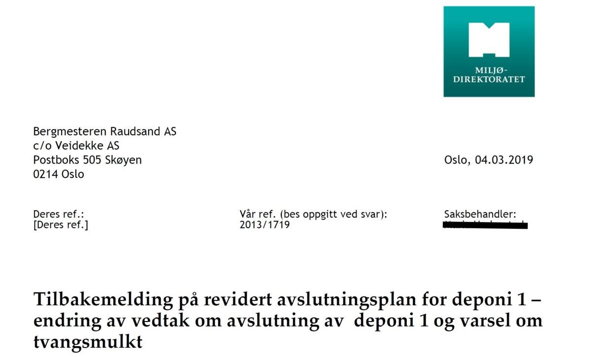 Varsel om tvangsmulkt på 300 000 til Veidekke fra Miljødirektoratet